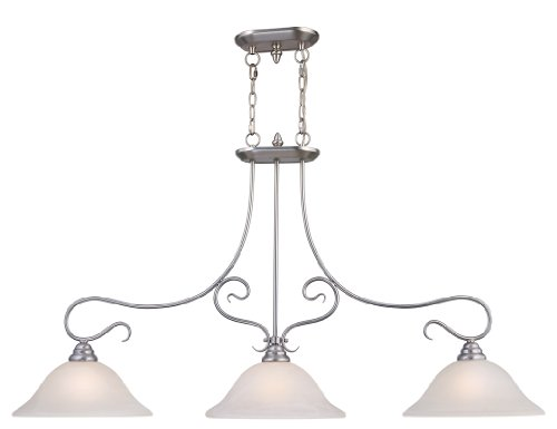 Livex Lighting 6108-91 Island Pendant with White Alabaster Glass Shades, Brushed Nickel