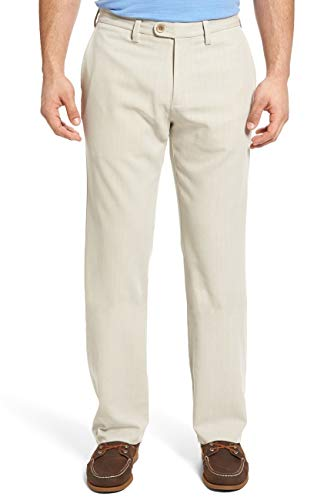 (Tommy Bahama Flat Front Authentic Fit Havana Herringbnone Pants (Color: Khaki Sands, Size 40X34))