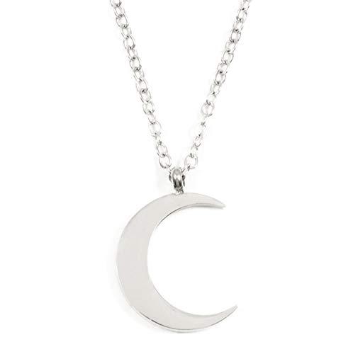 Happiness Boutique Women Half Moon Necklace Silver Color Delicate Crescent Moon Pendant Necklace
