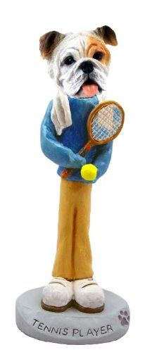 Bulldog White Tennis Player Doogie Collectable Figurine