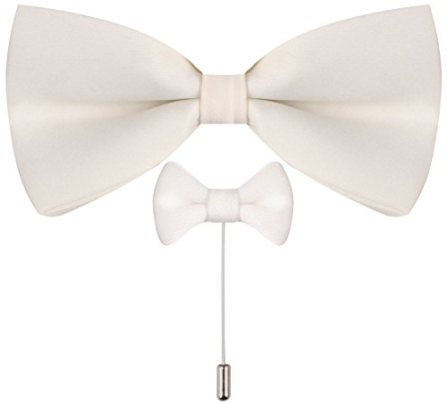 CEAJOO ivory bow tie Clip On Bow Tie Men Lapel Pin Bow Tie Bow Lapel Pin Ivory