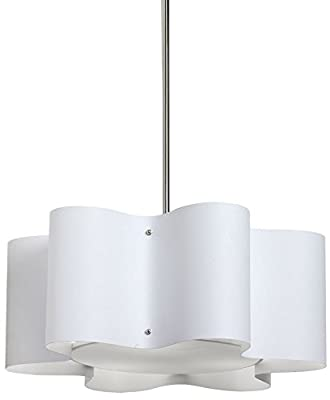 Dainolite Lighting ZUL-203-PC-WH 3-Light Wave Drum Pendant with White Shade