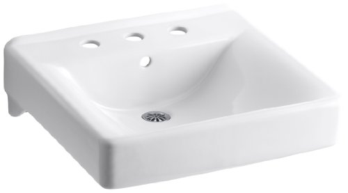 (Kohler 2053-0 Ceramic Wall Mounted Square Bathroom Sink, 21.5 x 11.25 x 19.5 inches, White)
