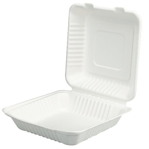 SCT 18935 ChampWare Molded-Fiber Clamshell Containers, 9w x 9d x 3h, White (Case of 200) by Southern Champion (Image #1)