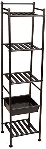 (AmazonBasics 5-Tier Bathroom Shelving Unit with Basket)