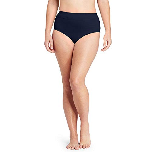 Lands' End Women's Plus Size High Waisted Bikini Bottoms with Tummy Control, 20W, Deep -