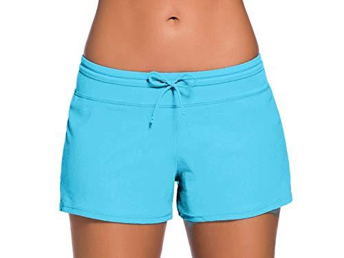 Sythyee Women's Swim Boardshorts Tankini Boyshorts Beach Bottom Swimsuit Built in Briefs Sky Blue Size - Blue Boys Panty