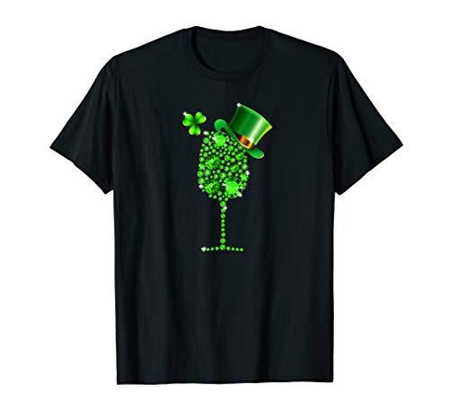 Shamrock Wine Glass Top Hat St Patrick's day 2019 Gift Shirt