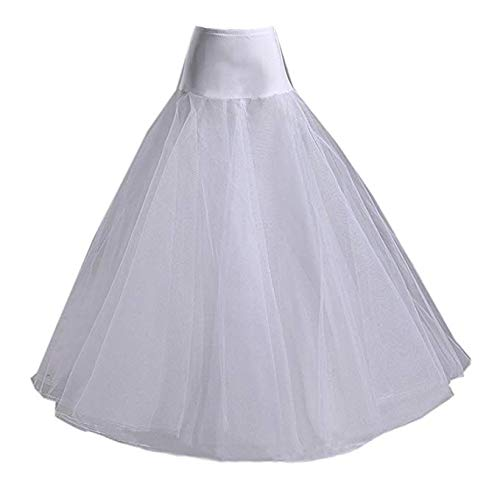 Nanwuji A-line Hoopless Petticoat Crinoline Underskirt Slips Floor Length for Bridal Wedding Dress, White, One (Full Ball Skirt)