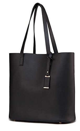 Review ilishop PU Leather Handbag Designer Pure Color Pures Large Capacity Shoulder Bag Classical Tote Bags (Black)