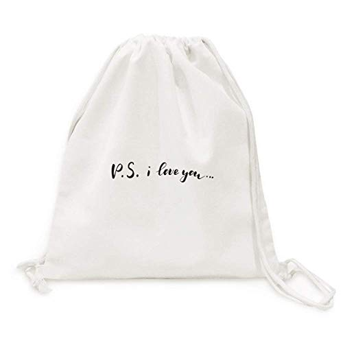 P.S. I Love You Quote Handwrite Backpack Canvas Drawstring Bag Shopping Travel