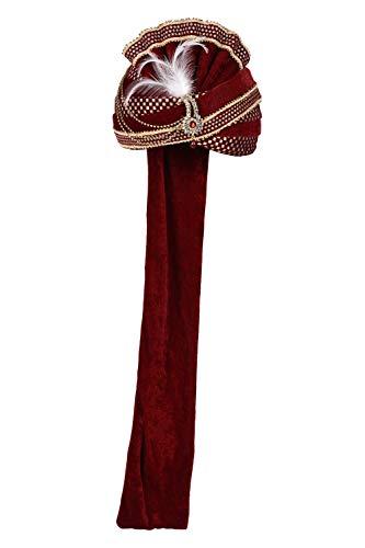 Royal For Maharaja Women Indian Men 2 Pagadi Satin Wedding Turban Sarees Maroon qpw0YI