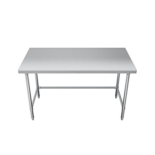 Elkay Foodservice Chef's Choice Work Table, 30''X108'' OA, 36'' Working Height, Flat Top, Cross Brace, Turned Down Table Edge, Stainless Legs With Adjustable 1'' Feet, 16 Gauge 300 Series Stainless Steel, NSF Certified by Elkay Foodservice (Image #2)