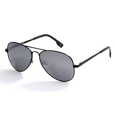 Classic Polarized Sunglasses for Men, Mirrored Lens Glasses Eyewear Metal Frame Glasses,FDA Standard, 100% UVA/UVB Protection (Silver, 55) -