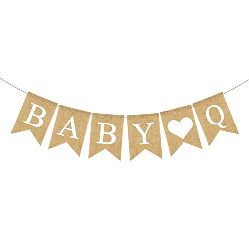 Jute Burlap Baby Q Banner BBQ Theme Baby Shower Gender Reveal Birthday Party Garland Decoration (Bun In The Oven Baby Shower Theme)