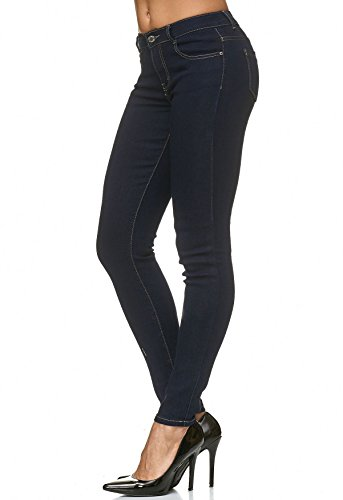 skinny Femmes Fonc D2225 Couture Bleu Contraste Jeans Pantalon Stretch AxaaO