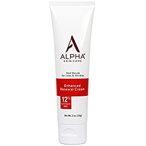 Alpha Skin Care - Enhanced Renewal Cream, 12% Glycolic AHA, Real Results for Lines and Wrinkles| Fragrance-Free and Paraben-Free| 2-Ounce