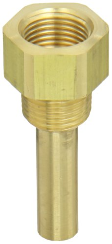 PIC Gauge TW-BR02-22S2 Brass Standard Thermowell for Industrial Bimetal Thermometers, 2-1/2