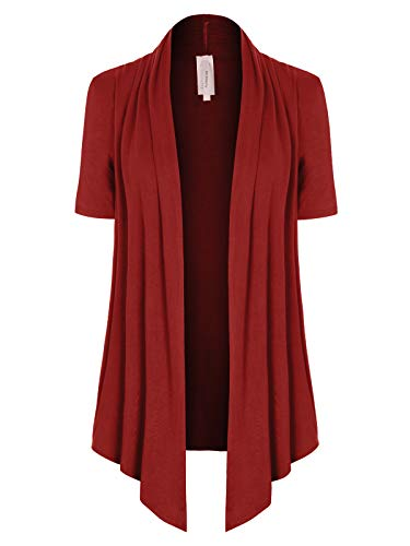 MixMatchy Women's [Made in USA] Solid Jersey Knit Short Sleeve Open Front Draped Cardigan (S-3XL) Rust 3XL