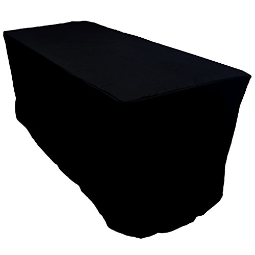FantasyDeco 6 ft. Fitted Rectangular Polyester Tablecloth, Black, 30x72-inch (Tablecloth Polyester Fitted 6')