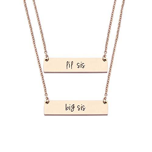 JJTZX Sister Bar Necklace Set Lil Sis & Big Sis Hand Stamped Bar Necklace New Big Sister Gift (RG Big&Lil sis Set)