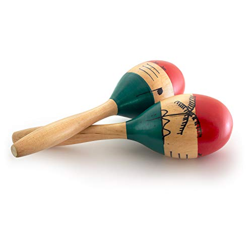 - Natural Hand Painted Wooden Maracas - Full Size Pair