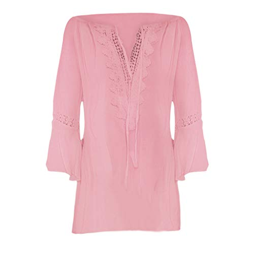 Dressin Women Plus Size T-Shirt Ladies Loose Solid Color V-Neck Lace Long Sleeve Blouse Pullover Tops Shirt Tunic Pink]()