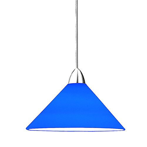 WAC Lighting MP-512-BL/CH Jill 1-Light 12V MonoPoint Pendant with Blue Art Glass Shade, Chrome (Rail Monopoint Connector)