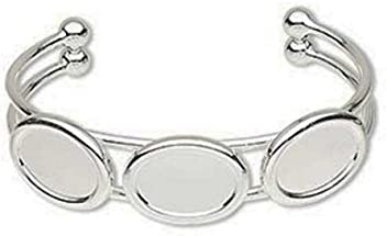 e7ff3ee54688e Silver Plated Triple Oval Cuff Bracelet