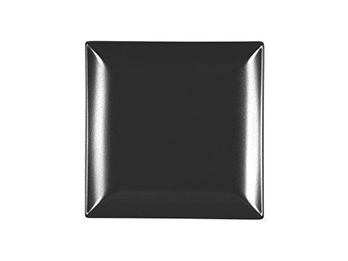 H+H Boston Set mit 6 Obsttellern, Steinzeug, schwarz, quadratisch, 18 x 18 cm