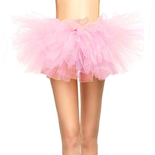 Pink Ballerina Halloween Costume For Adults (CahcyElilk Women's Cute Sweet Pink Tutu Mini Puffy Halloween Girls Birthday Photography Pig Costume Table Decoration Ballerina Ballet Light Pink)