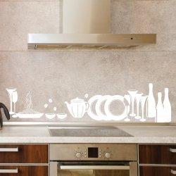 Wandtattoo Kitchen Style, Größe 200 Cm X 52 Cm, Farbe Türkis
