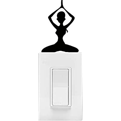 YINGKAI Yoga Dancer Sitting on Light Switch Decal Vinyl Wall Decal Sticker Art Living Room Carving Wall Decal Sticker for Kids Room Home Window Decoration: Home & Kitchen