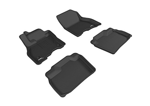 3D MAXpider Complete Set Custom Fit All-Weather Floor Mat for Select Nissan Leaf Models - Kagu Rubber (Black)