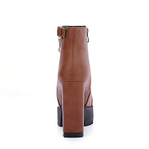 AgooLar Damen Rein Hoher Absatz Reißverschluss Schließen Zehe Stiefel mit Schnalle Braun