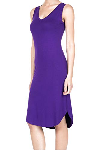 8037 Women's Jersey Sleeveless V-Neck Midi Tank Dress Purple M