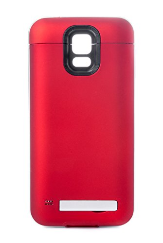 hsini 4200mAh Portable USB External Backup Battery Power Bank Charger Case with for Samsung Galaxy S5 i9600 - Retail Packaging - Red/Silver