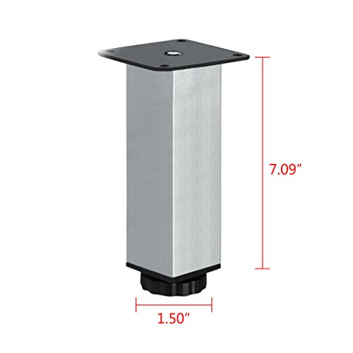 4x Stainless Steel Square Plinth Leg Feet Cabinet Kitchen Stand Metal Adjustable (18cm / 7
