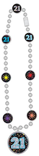 Amscan 396645 Brilliant 21st Birthday Bead Necklace, Multicolor, 17
