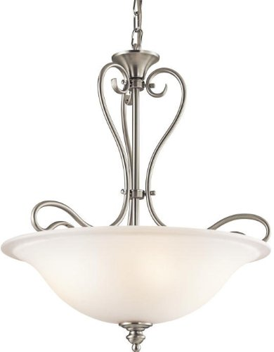 Kichler Lighting 42903NI Tanglewood 3-Light Pendant, Brushed Nickel Finish with Satin Etched Glass