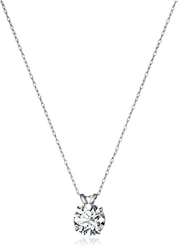 Jewelili 10K White Gold Solitaire Pendant Necklace Set with Round Cut Swarovski Zirconia (2 cttw), 18