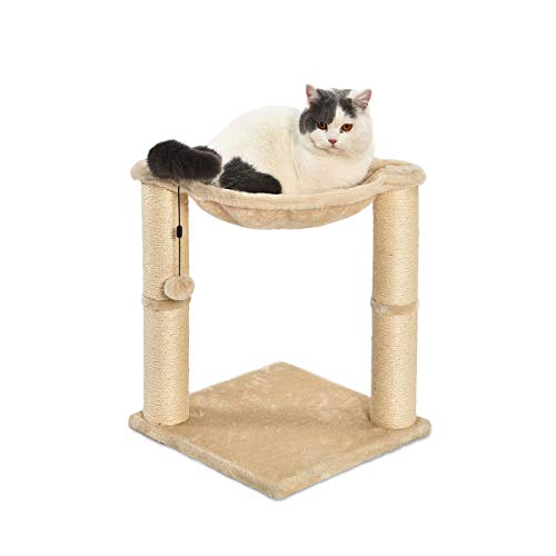AmazonBasics Cat Condo Tree Tower With Hammock Bed And Scratching Post - 16 x 20 x 16 Inches, Beige ()
