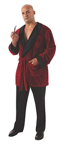 Secret Wishes Men's Playboy Smoking Jacket with Belt and Pipe Costume, Red, Plus ()