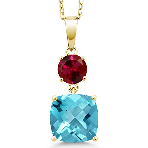 Gem Stone King 5.05 Ct Cushion Checkerboard Swiss Blue Topaz Red Created Ruby 18K Yellow Gold Plated Silver Pendant
