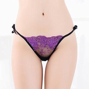 FLYRCX Ropa Interior sin Costuras de Mujer Cintura Baja Sexy Encaje Transparente Tanga Sex Temptation Camiseta