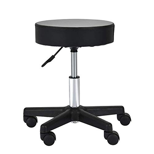 Uenjoy Adjustable Stool for Massage with Ultra-thick Sponge, PU Leather, Hydraulic Rolling Swivel, Massage Spa Tattoo Salon Chair, Black