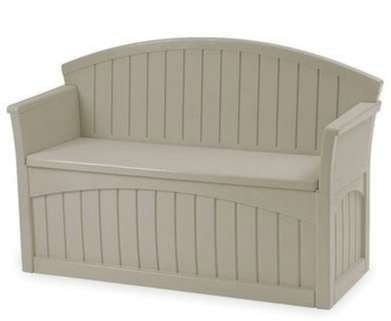 Outdoor Storage Bench, Patio - 50 Gal., Resin, Light Taupe