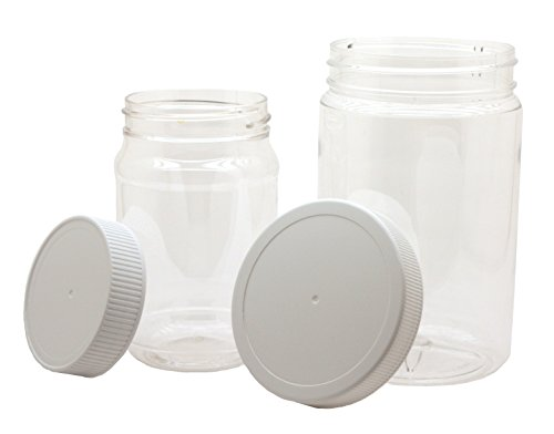 J&S - Plastic Jars with Screw On Lids - Combo 8 Pack - 4 Clear BPA Free PET Quart 32 oz AND 4 Pint 16 oz Sized Storage Containers with White Sealing Caps (16 Ounce Plastic Canisters)