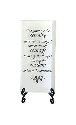Lifeforce Glass The Serenity Prayer Inspirational Glass Plaque. Encouraging and Centering Words to Empower. Includes a Folding Easel White.