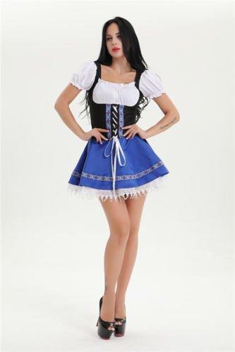 [Womens Gretchen Dirndl Serving Wench Bavarian Bar Maid Adult Costume blue (XXL)] (Beer Maids Costume)